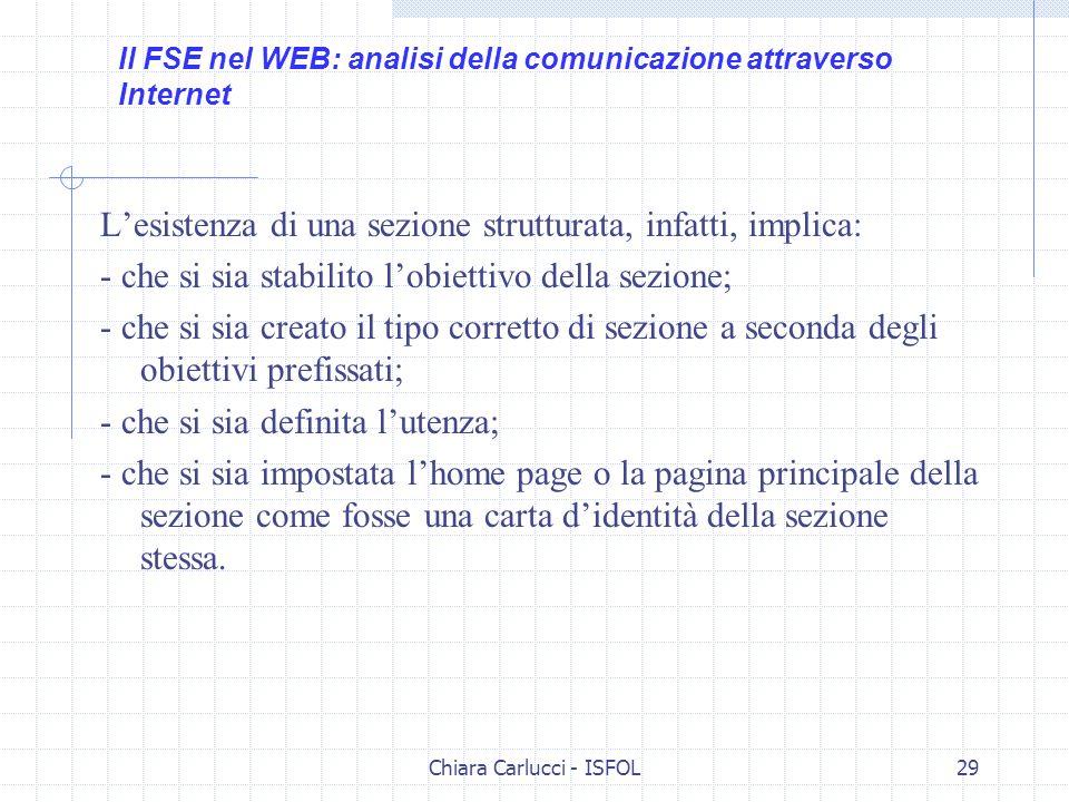 Chiara Carlucci - ISFOL29 Lesistenza di una sezione strutturata, infatti, implica: - che si sia stabilito lobiettivo della sezione; - che si sia creat
