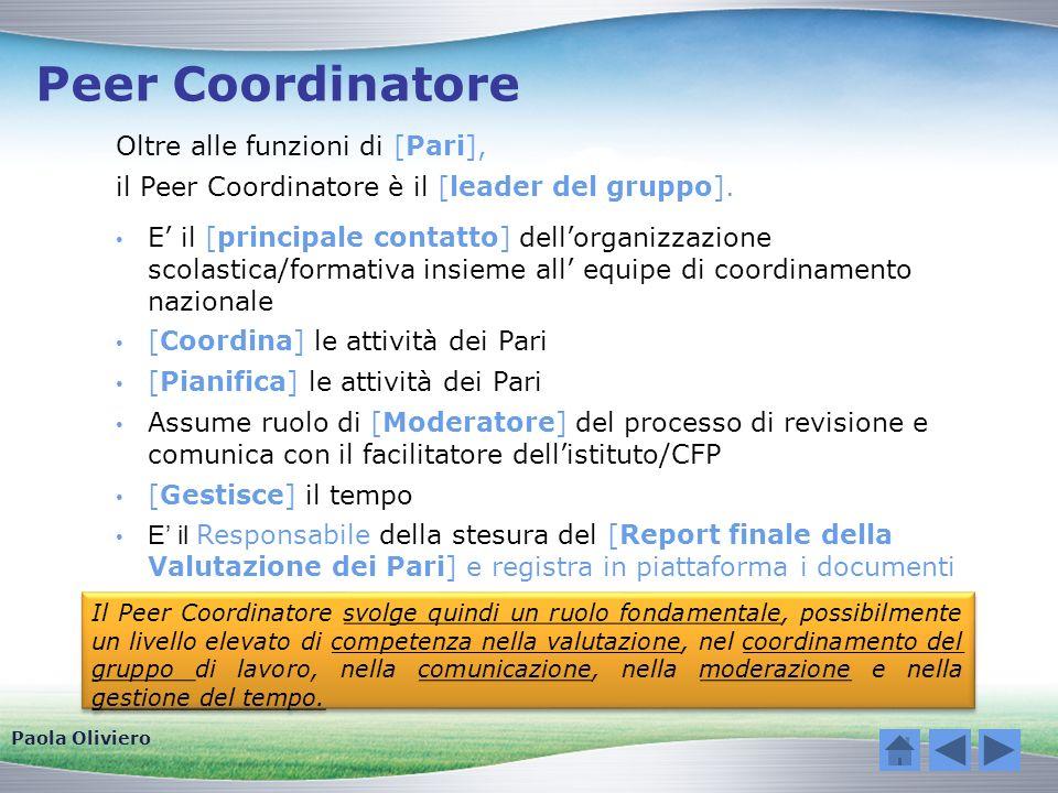 Peer Coordinatore Oltre alle funzioni di [Pari], il Peer Coordinatore è il [leader del gruppo]. E il [principale contatto] dellorganizzazione scolasti