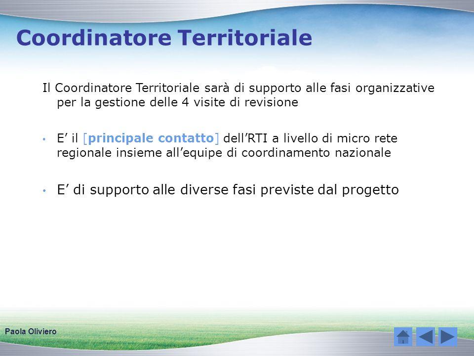 Coordinatore Territoriale Il Coordinatore Territoriale sarà di supporto alle fasi organizzative per la gestione delle 4 visite di revisione E il [prin