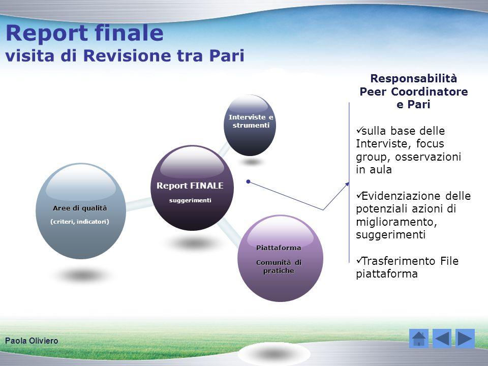 Report finale visita di Revisione tra Pari Responsabilità Peer Coordinatore e Pari sulla base delle Interviste, focus group, osservazioni in aula Evid