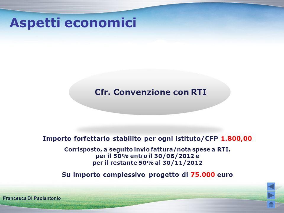 Aspetti economici Cfr. Convenzione con RTI Importo forfettario stabilito per ogni istituto/CFP 1.800,00 Corrisposto, a seguito invio fattura/nota spes
