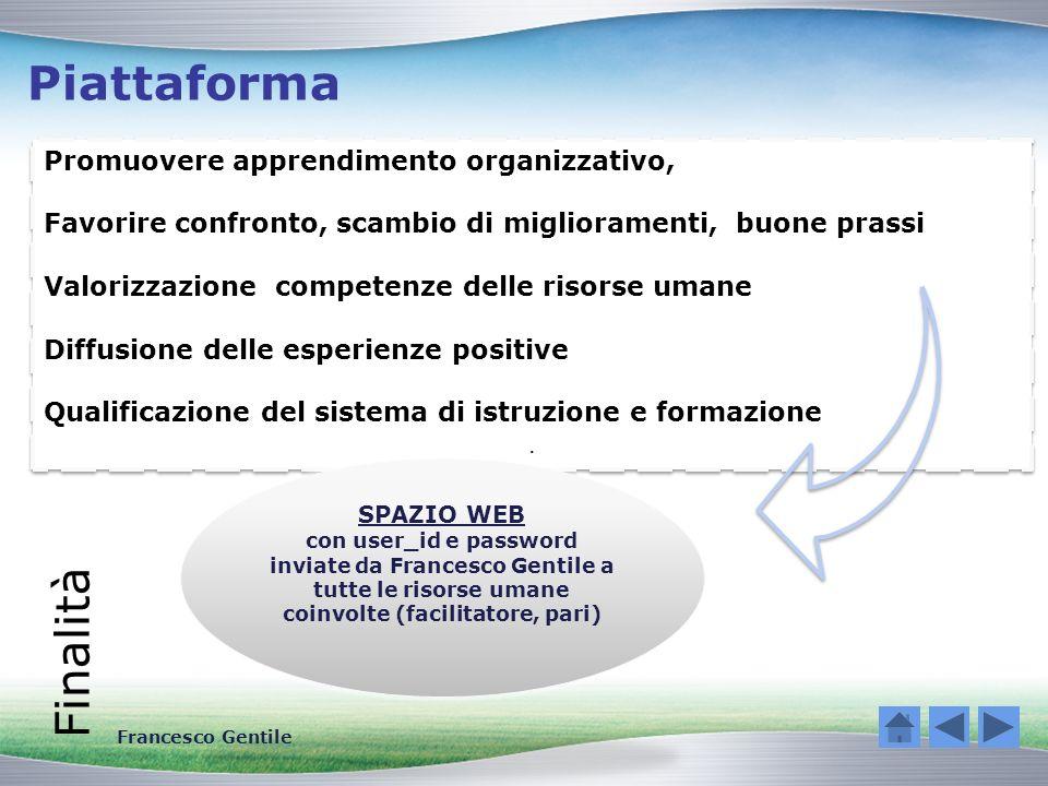 Piattaforma Finalità Promuovere apprendimento organizzativo, Favorire confronto, scambio di miglioramenti, buone prassi Valorizzazione competenze dell