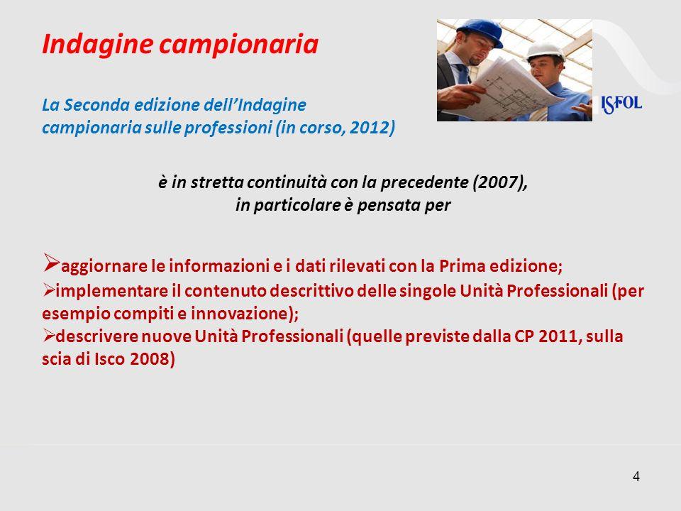 4 Indagine campionaria La Seconda edizione dellIndagine campionaria sulle professioni (in corso, 2012) è in stretta continuità con la precedente (2007