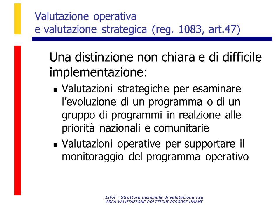 Isfol – Struttura nazionale di valutazione Fse AREA VALUTAZIONE POLITICHE RISORSE UMANE Valutazione operativa e valutazione strategica (reg. 1083, art