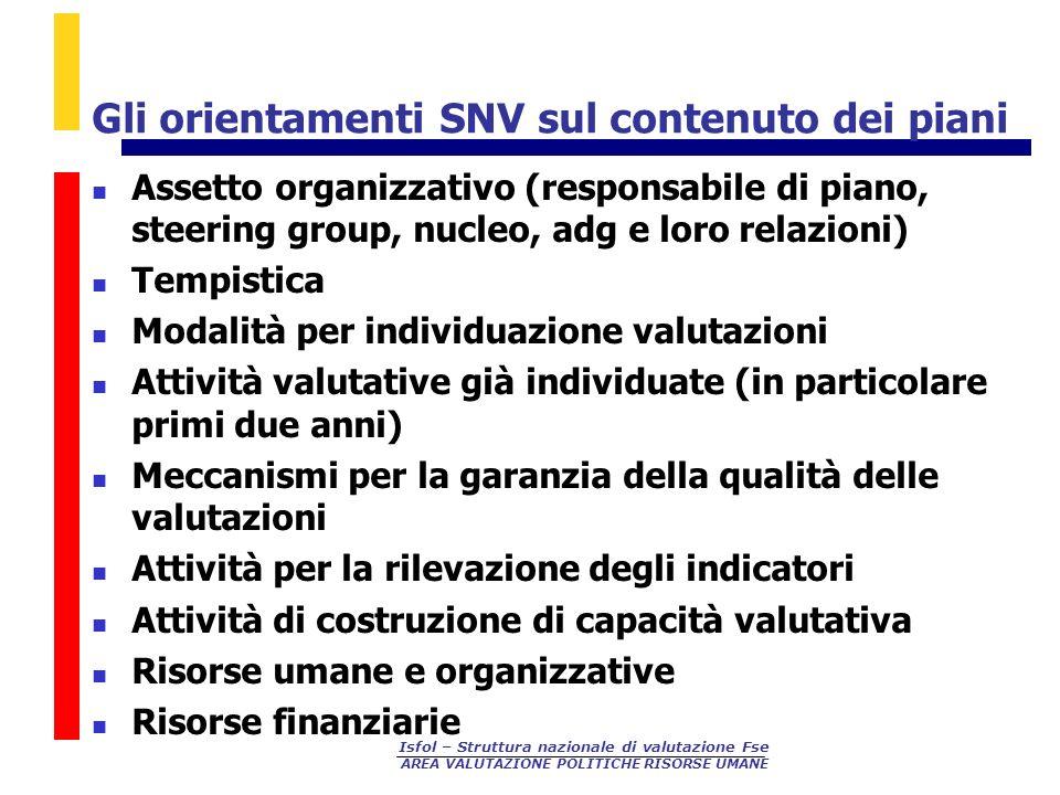 Isfol – Struttura nazionale di valutazione Fse AREA VALUTAZIONE POLITICHE RISORSE UMANE Gli orientamenti SNV sul contenuto dei piani Assetto organizza