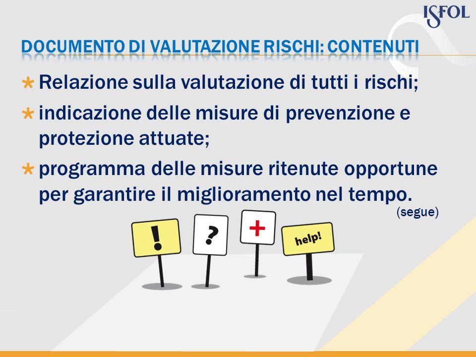Relazione sulla valutazione di tutti i rischi; indicazione delle misure di prevenzione e protezione attuate; programma delle misure ritenute opportune
