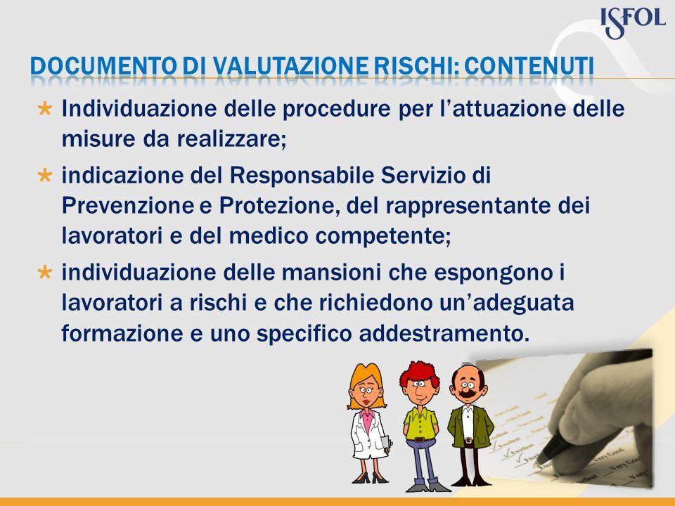 Individuazione delle procedure per lattuazione delle misure da realizzare; indicazione del Responsabile Servizio di Prevenzione e Protezione, del rapp