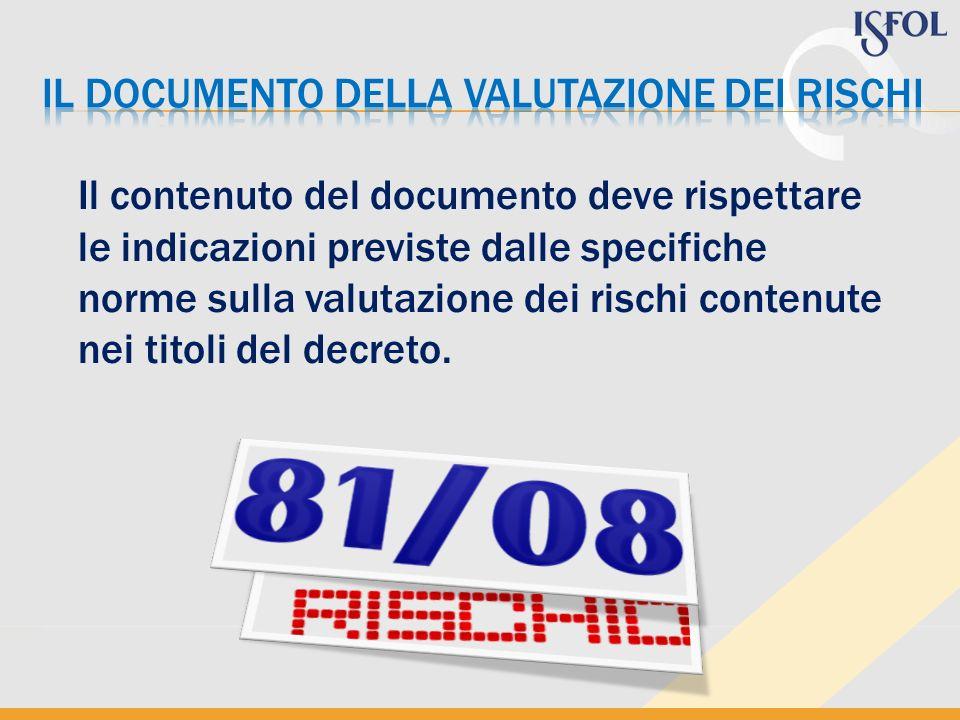 Il contenuto del documento deve rispettare le indicazioni previste dalle specifiche norme sulla valutazione dei rischi contenute nei titoli del decret