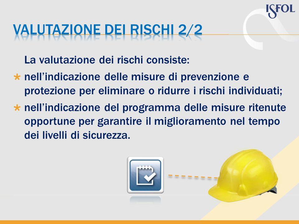 La valutazione dei rischi consiste: nellindicazione delle misure di prevenzione e protezione per eliminare o ridurre i rischi individuati; nellindicaz