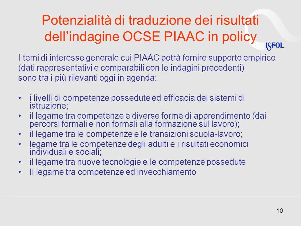 10 Potenzialità di traduzione dei risultati dellindagine OCSE PIAAC in policy I temi di interesse generale cui PIAAC potrà fornire supporto empirico (