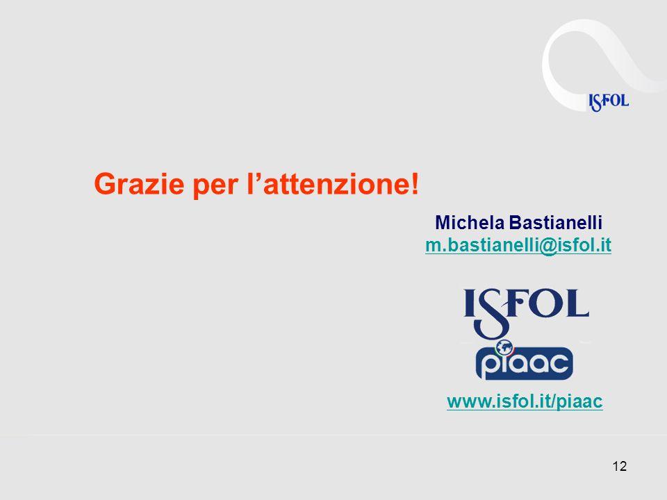 12 Grazie per lattenzione! Michela Bastianelli m.bastianelli@isfol.it www.isfol.it/piaac