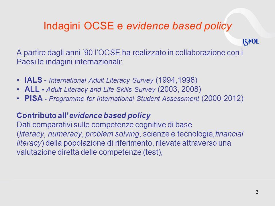 3 Indagini OCSE e evidence based policy A partire dagli anni 90 lOCSE ha realizzato in collaborazione con i Paesi le indagini internazionali: IALS - I