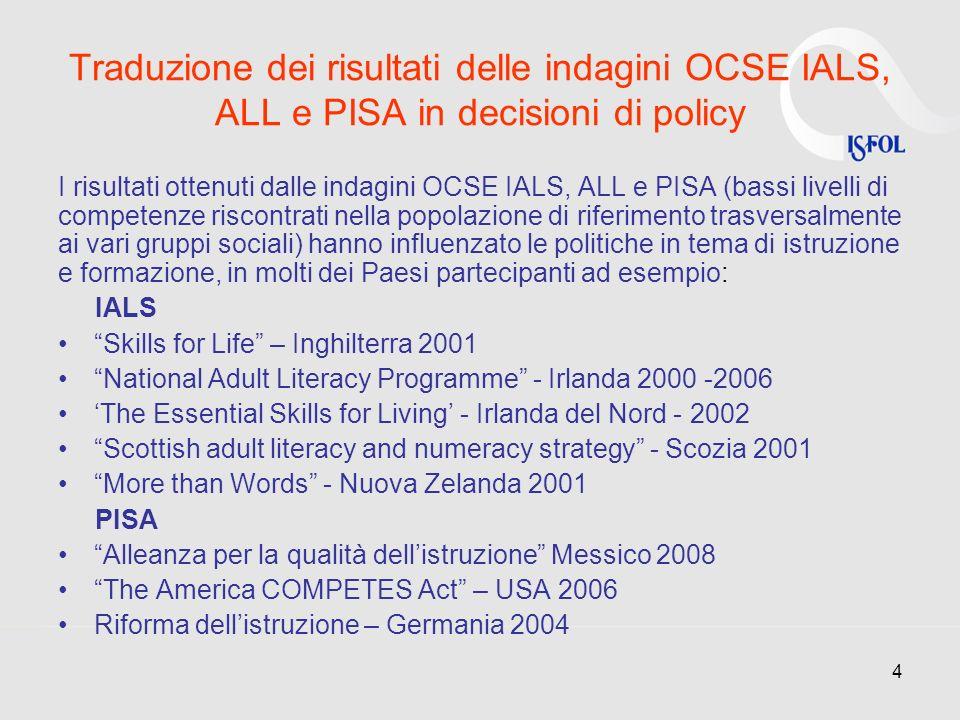4 Traduzione dei risultati delle indagini OCSE IALS, ALL e PISA in decisioni di policy I risultati ottenuti dalle indagini OCSE IALS, ALL e PISA (bass