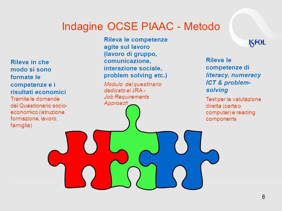 6 Indagine OCSE PIAAC - Metodo Rileva le competenze di literacy, numeracy ICT & problem- solving Test per la valutazione diretta (carta o computer) e