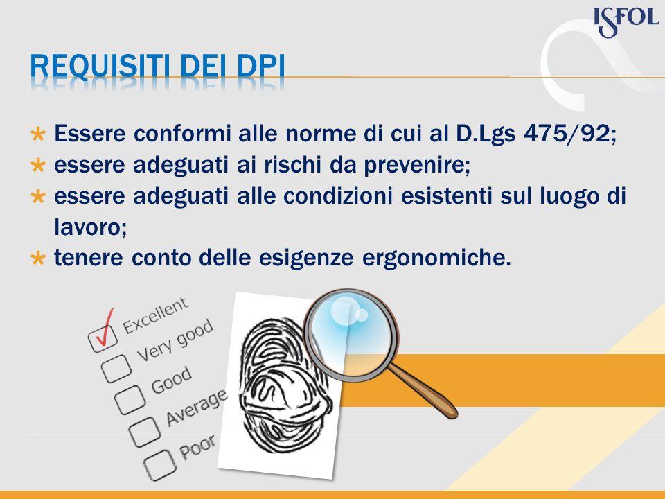 Essere conformi alle norme di cui al D.Lgs 475/92; essere adeguati ai rischi da prevenire; essere adeguati alle condizioni esistenti sul luogo di lavo