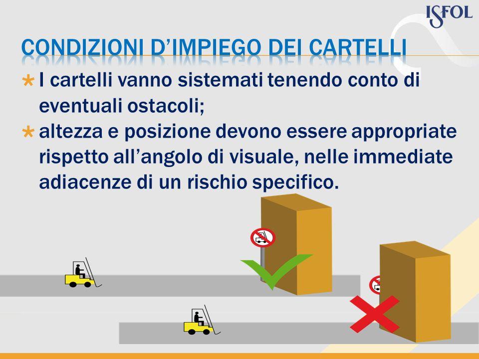 I cartelli vanno sistemati tenendo conto di eventuali ostacoli; altezza e posizione devono essere appropriate rispetto allangolo di visuale, nelle immediate adiacenze di un rischio specifico.
