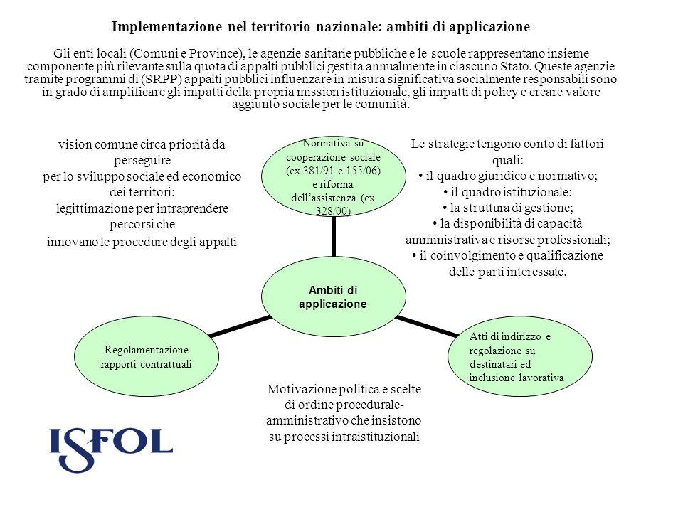 Implementazione nel territorio nazionale: ambiti di applicazione Gli enti locali (Comuni e Province), le agenzie sanitarie pubbliche e le scuole rappr