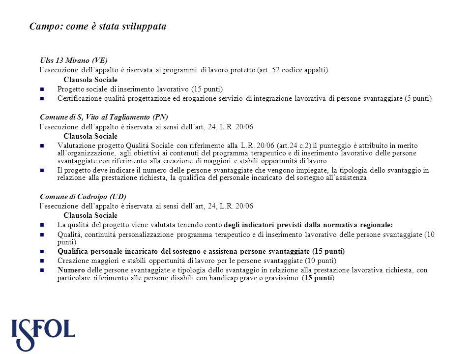 Campo: come è stata sviluppata Ulss 13 Mirano (VE) lesecuzione dellappalto è riservata ai programmi di lavoro protetto (art. 52 codice appalti) Clauso