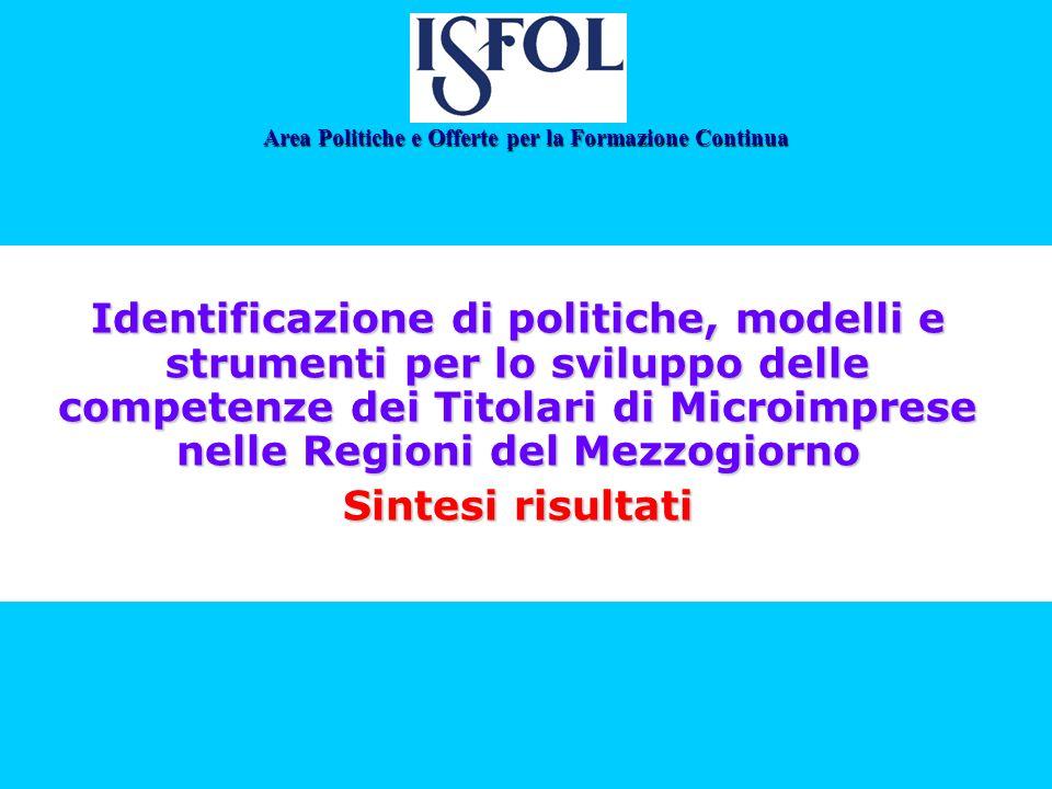 Identificazione di politiche, modelli e strumenti per lo sviluppo delle competenze dei Titolari di Microimprese nelle Regioni del Mezzogiorno Sintesi risultati Area Politiche e Offerte per la Formazione Continua