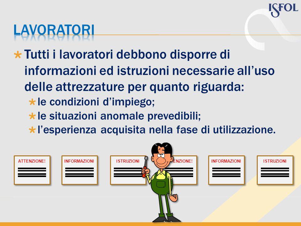 Tutti i lavoratori debbono disporre di informazioni ed istruzioni necessarie alluso delle attrezzature per quanto riguarda: le condizioni dimpiego; le