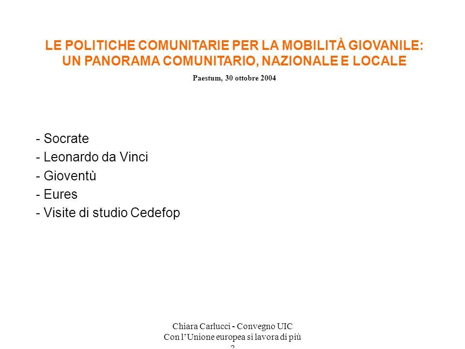 Chiara Carlucci - Convegno UIC Con lUnione europea si lavora di più ? - Socrate - Leonardo da Vinci - Gioventù - Eures - Visite di studio Cedefop LE P