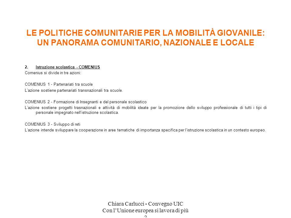 Chiara Carlucci - Convegno UIC Con lUnione europea si lavora di più ? 2.Istruzione scolastica - COMENIUS Comenius si divide in tre azioni: COMENIUS 1