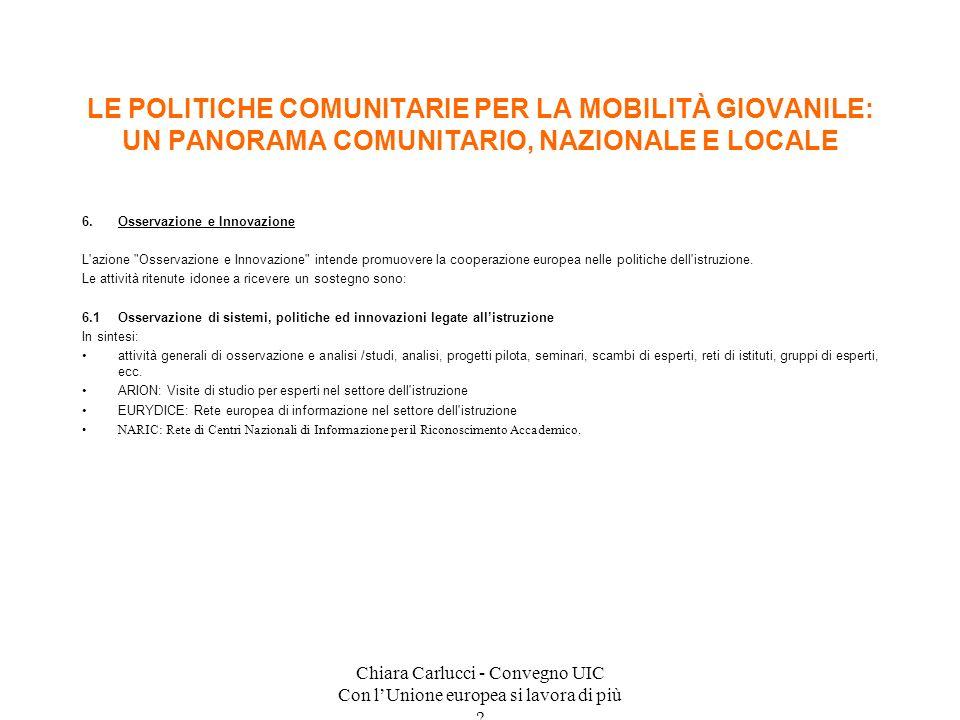 Chiara Carlucci - Convegno UIC Con lUnione europea si lavora di più ? 6.Osservazione e Innovazione L'azione