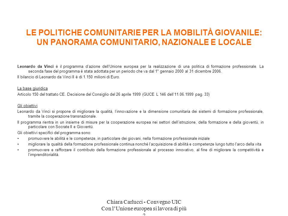 Chiara Carlucci - Convegno UIC Con lUnione europea si lavora di più ? Leonardo da Vinci è il programma dazione dellUnione europea per la realizzazione