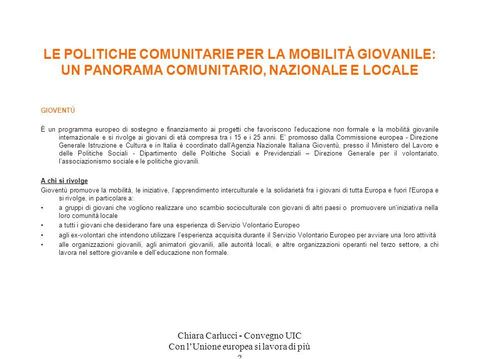 Chiara Carlucci - Convegno UIC Con lUnione europea si lavora di più ? GIOVENTÙ È un programma europeo di sostegno e finanziamento ai progetti che favo