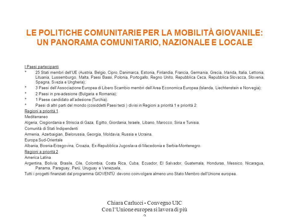 Chiara Carlucci - Convegno UIC Con lUnione europea si lavora di più ? I Paesi partecipanti 25 Stati membri dell'UE (Austria, Belgio, Cipro, Danimarca,