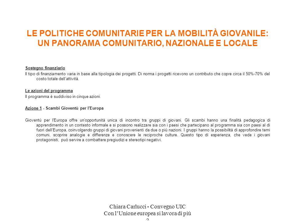 Chiara Carlucci - Convegno UIC Con lUnione europea si lavora di più ? Sostegno finanziario Il tipo di finanziamento varia in base alla tipologia dei p