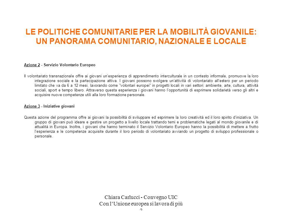 Chiara Carlucci - Convegno UIC Con lUnione europea si lavora di più ? Azione 2 - Servizio Volontario Europeo Il volontariato transnazionale offre ai g