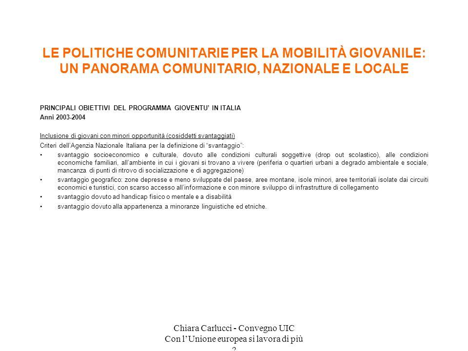 Chiara Carlucci - Convegno UIC Con lUnione europea si lavora di più ? PRINCIPALI OBIETTIVI DEL PROGRAMMA GIOVENTU IN ITALIA Anni 2003-2004 Inclusione