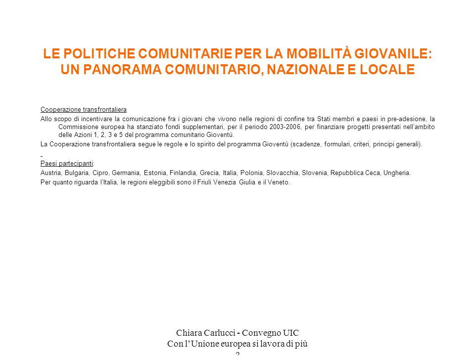 Chiara Carlucci - Convegno UIC Con lUnione europea si lavora di più ? Cooperazione transfrontaliera Allo scopo di incentivare la comunicazione fra i g