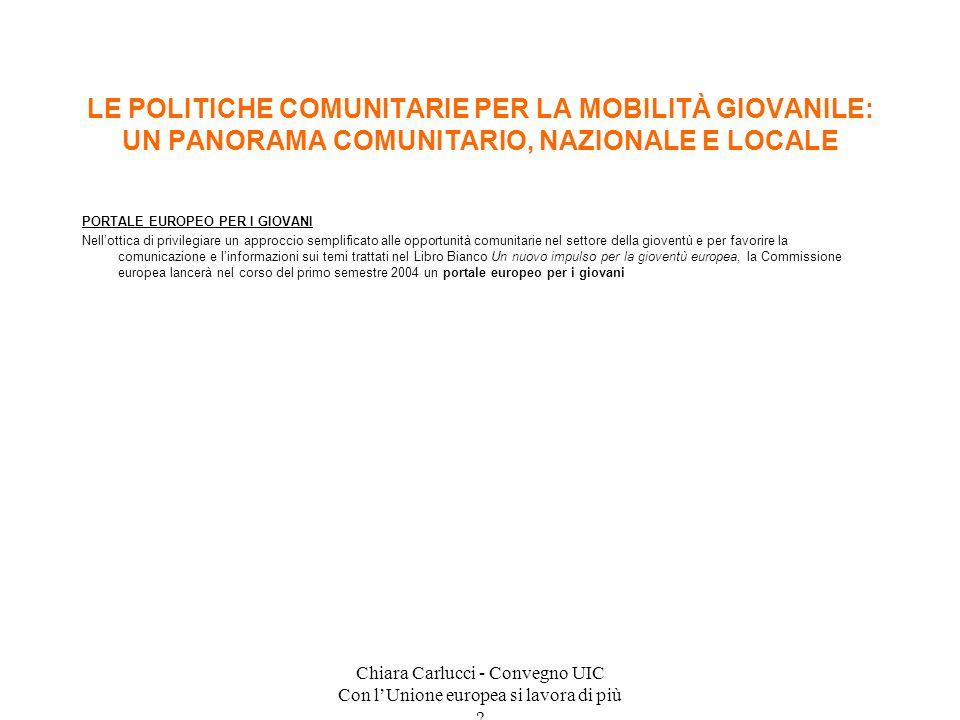 Chiara Carlucci - Convegno UIC Con lUnione europea si lavora di più ? PORTALE EUROPEO PER I GIOVANI Nellottica di privilegiare un approccio semplifica