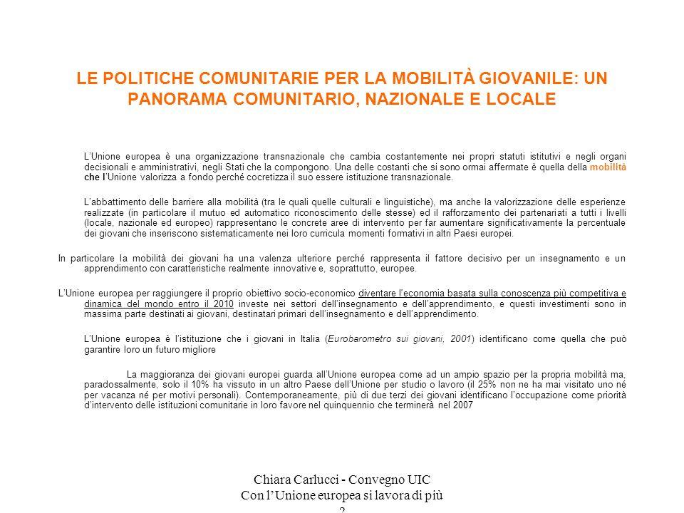 Chiara Carlucci - Convegno UIC Con lUnione europea si lavora di più ? LUnione europea è una organizzazione transnazionale che cambia costantemente nei