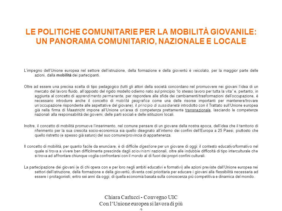 Chiara Carlucci - Convegno UIC Con lUnione europea si lavora di più ? Limpegno dellUnione europea nel settore dellistruzione, della formazione e della