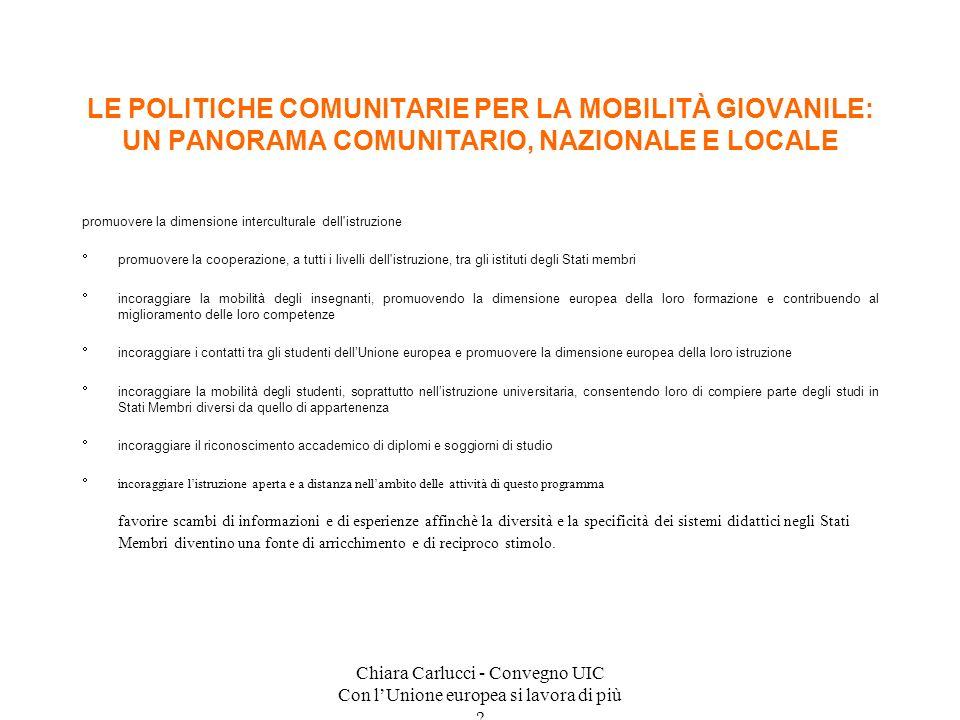 Chiara Carlucci - Convegno UIC Con lUnione europea si lavora di più ? promuovere la dimensione interculturale dell'istruzione promuovere la cooperazio