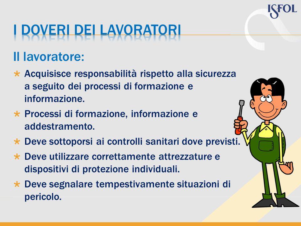 Il lavoratore: Acquisisce responsabilità rispetto alla sicurezza a seguito dei processi di formazione e informazione. Processi di formazione, informaz
