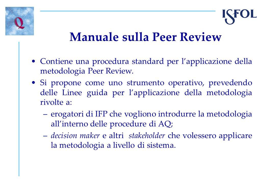 Manuale sulla Peer Review Contiene una procedura standard per lapplicazione della metodologia Peer Review. Si propone come uno strumento operativo, pr