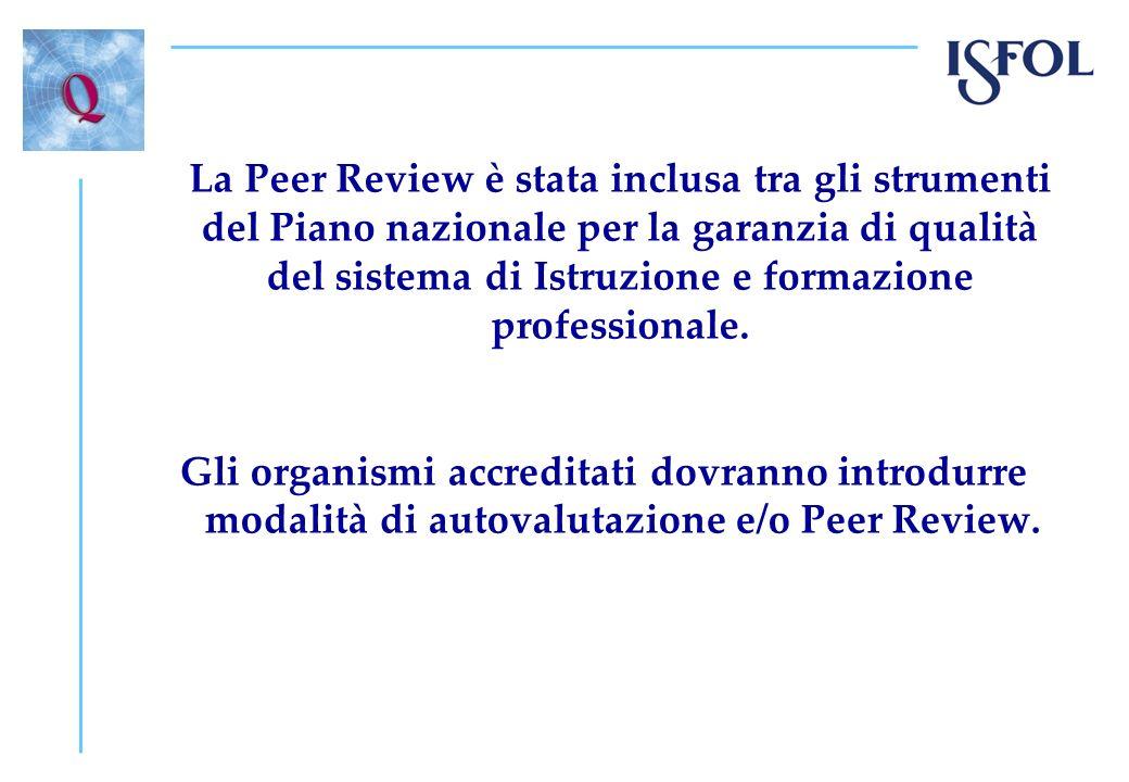 La Peer Review è stata inclusa tra gli strumenti del Piano nazionale per la garanzia di qualità del sistema di Istruzione e formazione professionale.