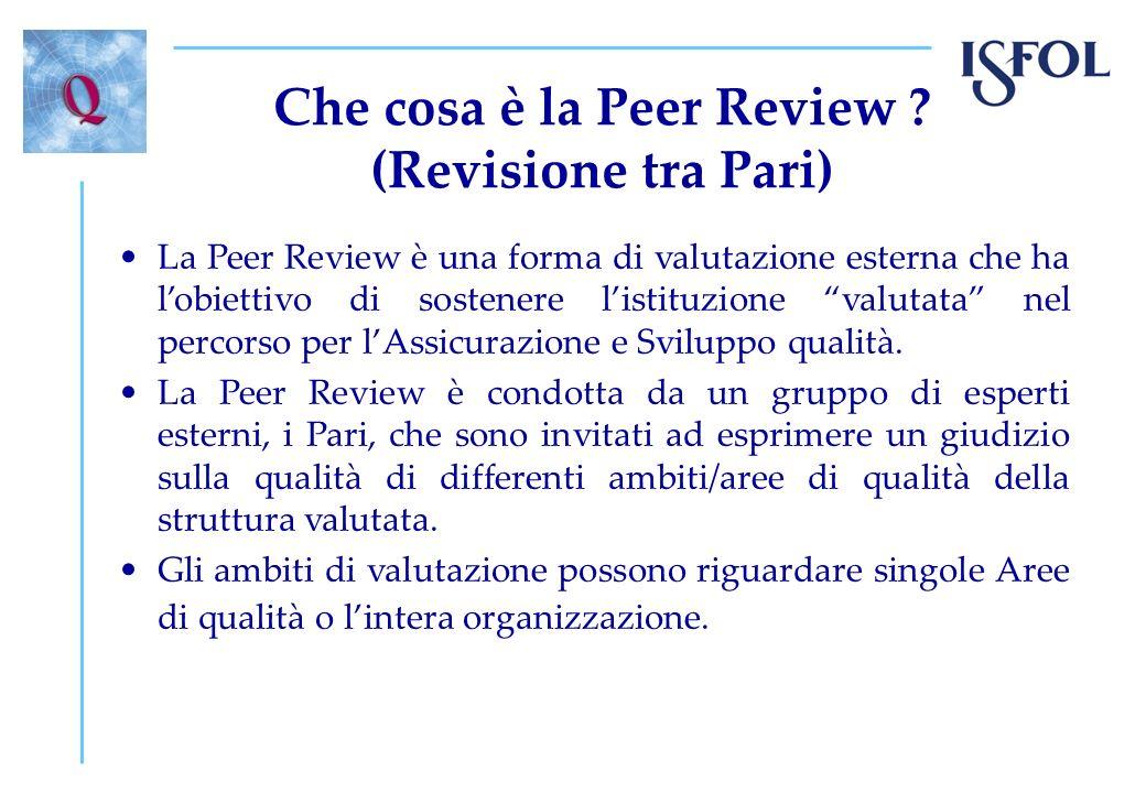 Caratteristiche della Peer Review Valutazione formativa esterna; Volontaria; Qualitativa: si tratta di una valutazione qualitativa in cui ci si avvale delle informazioni quantitative disponibili; Sviluppata tra reti di strutture scolastiche e formative.