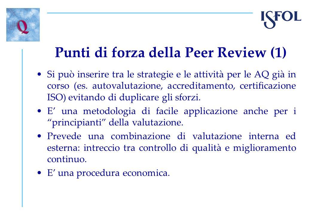 Punti di forza della Peer Review (2) Procedura flessibile che si presta ad essere adattata a contesti differenti.