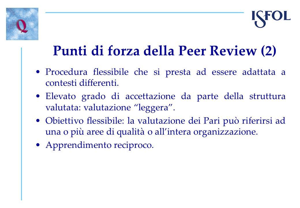 Punti di forza della Peer Review (2) Procedura flessibile che si presta ad essere adattata a contesti differenti. Elevato grado di accettazione da par