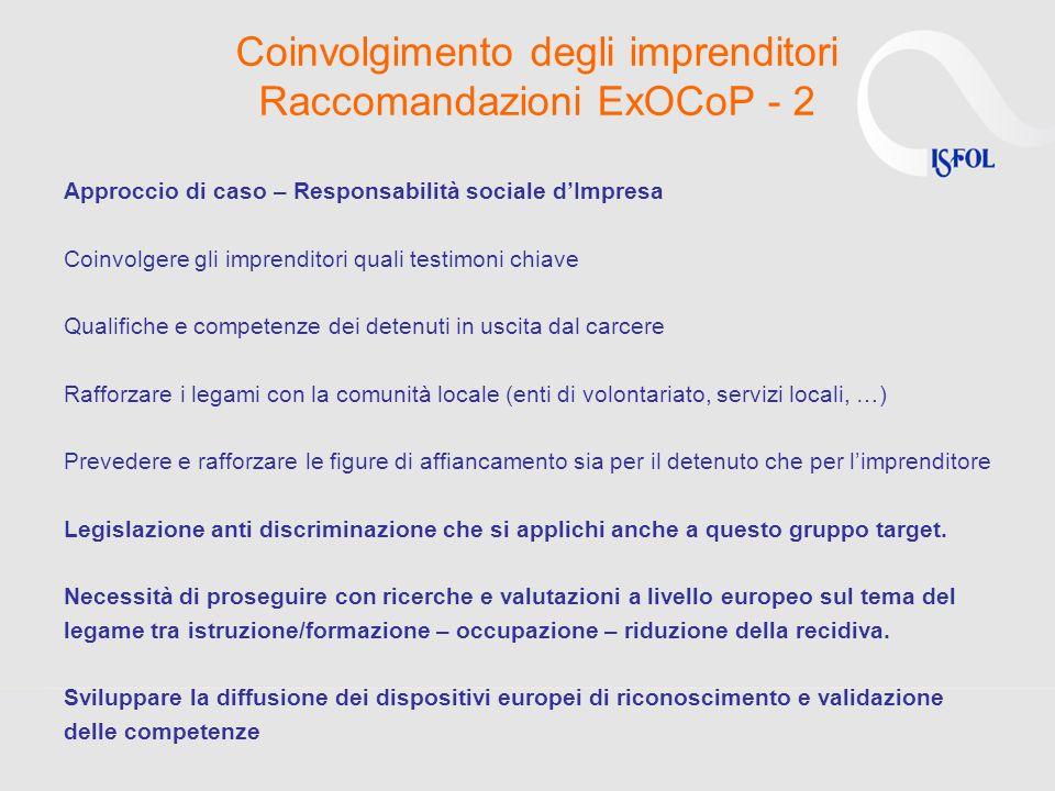 Coinvolgimento degli imprenditori Raccomandazioni ExOCoP - 2 Approccio di caso – Responsabilità sociale dImpresa Coinvolgere gli imprenditori quali te
