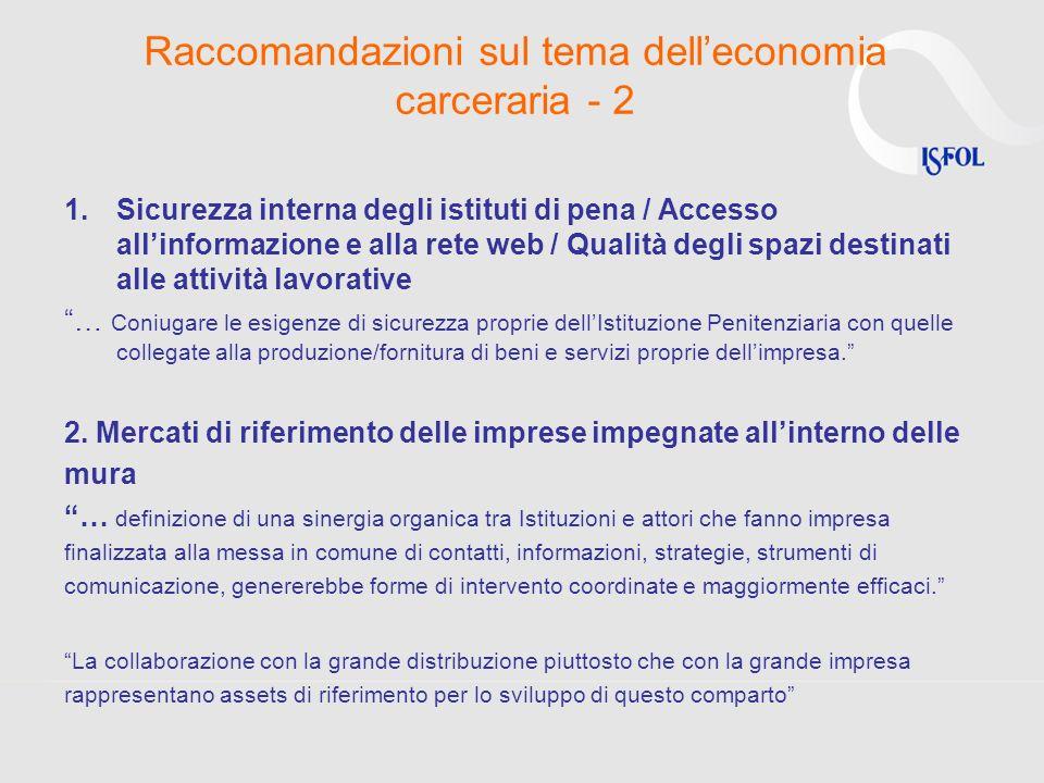 Raccomandazioni sul tema delleconomia carceraria - 2 1.Sicurezza interna degli istituti di pena / Accesso allinformazione e alla rete web / Qualità de