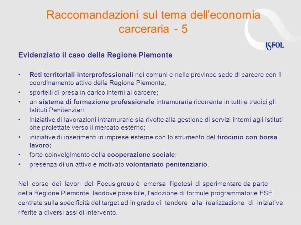Raccomandazioni sul tema delleconomia carceraria - 5 Evidenziato il caso della Regione Piemonte Reti territoriali interprofessionali nei comuni e nell