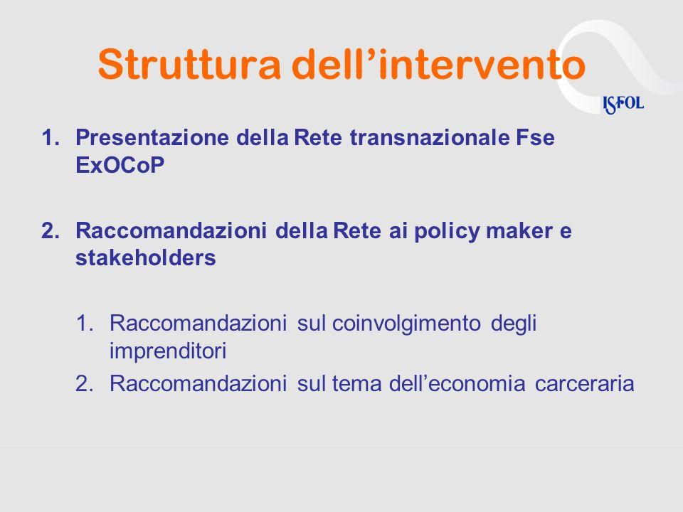Struttura dellintervento 1.Presentazione della Rete transnazionale Fse ExOCoP 2.Raccomandazioni della Rete ai policy maker e stakeholders 1.Raccomanda