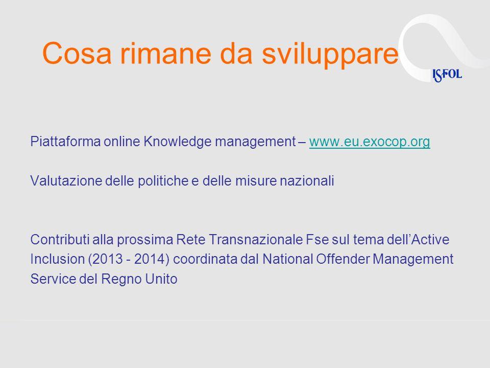 Cosa rimane da sviluppare Piattaforma online Knowledge management – www.eu.exocop.orgwww.eu.exocop.org Valutazione delle politiche e delle misure nazi