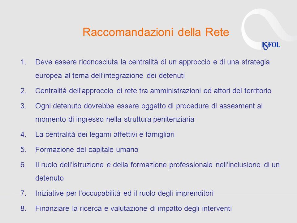 Raccomandazioni della Rete 1.Deve essere riconosciuta la centralità di un approccio e di una strategia europea al tema dellintegrazione dei detenuti 2